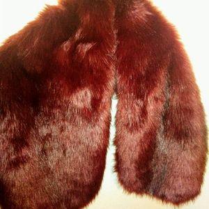 Deep burgundy faux fur Shrug!